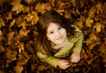 Cute Girl on Leaves - Cute Girl on Leaves