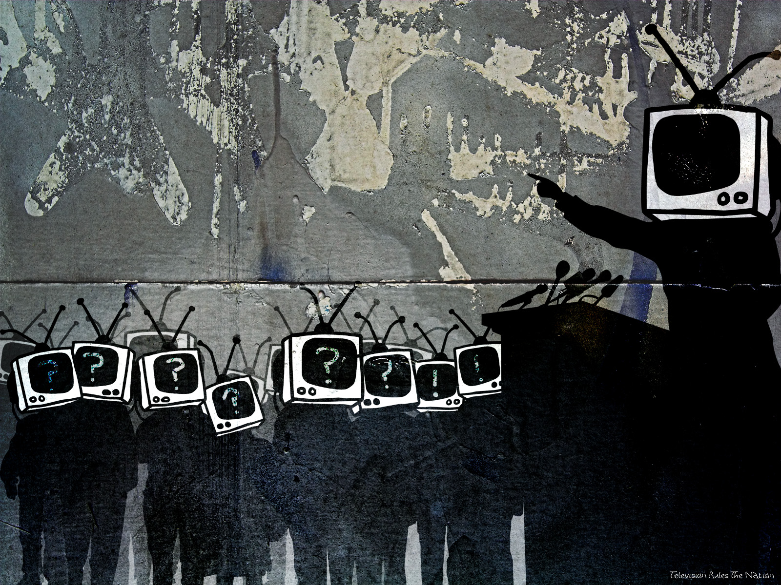 Street Art Television Rules The Nation - Street Art Television Rules The Nation
