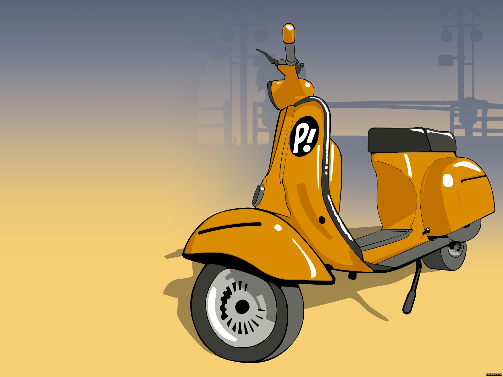 Yellow Vespa Cartoon - Yellow Vespa Cartoon