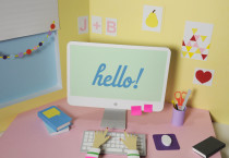 Cute Girl Desk Wallpaper - Cute Girl Desk Wallpaper