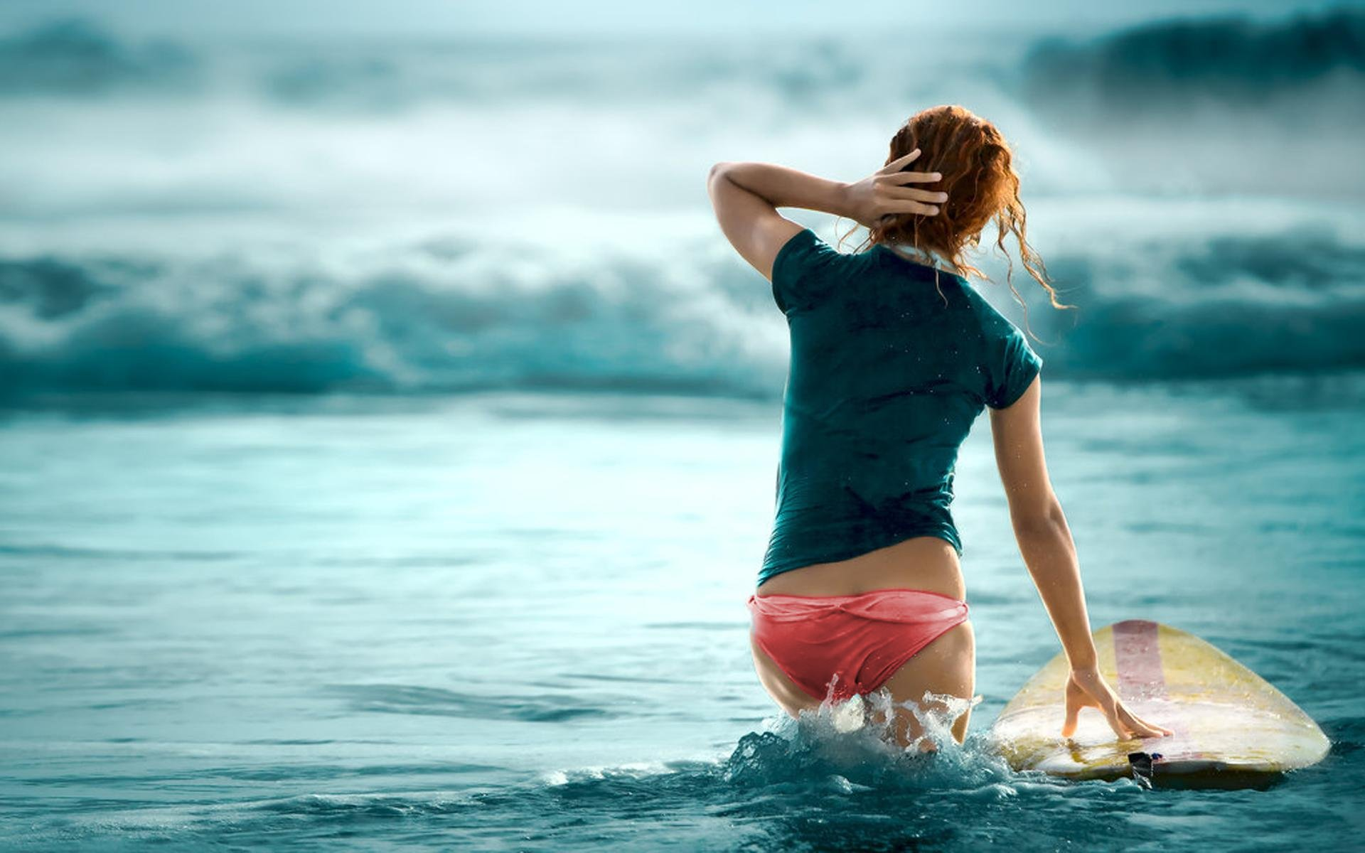 chick surfer girl wallpaper | beach
