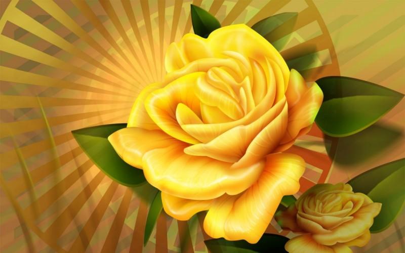 3D Yellow Roses - 3D Yellow Roses