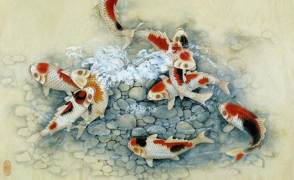 Koi fish art creative for Japanese koi carp paintings