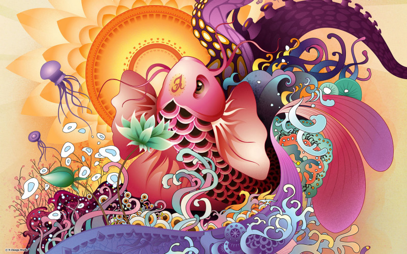 Koi Fish Vector Art - Koi Fish Vector Art