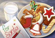 Cartoon Cookies and Milk for Santa