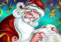 Cartoon Santa Checking List