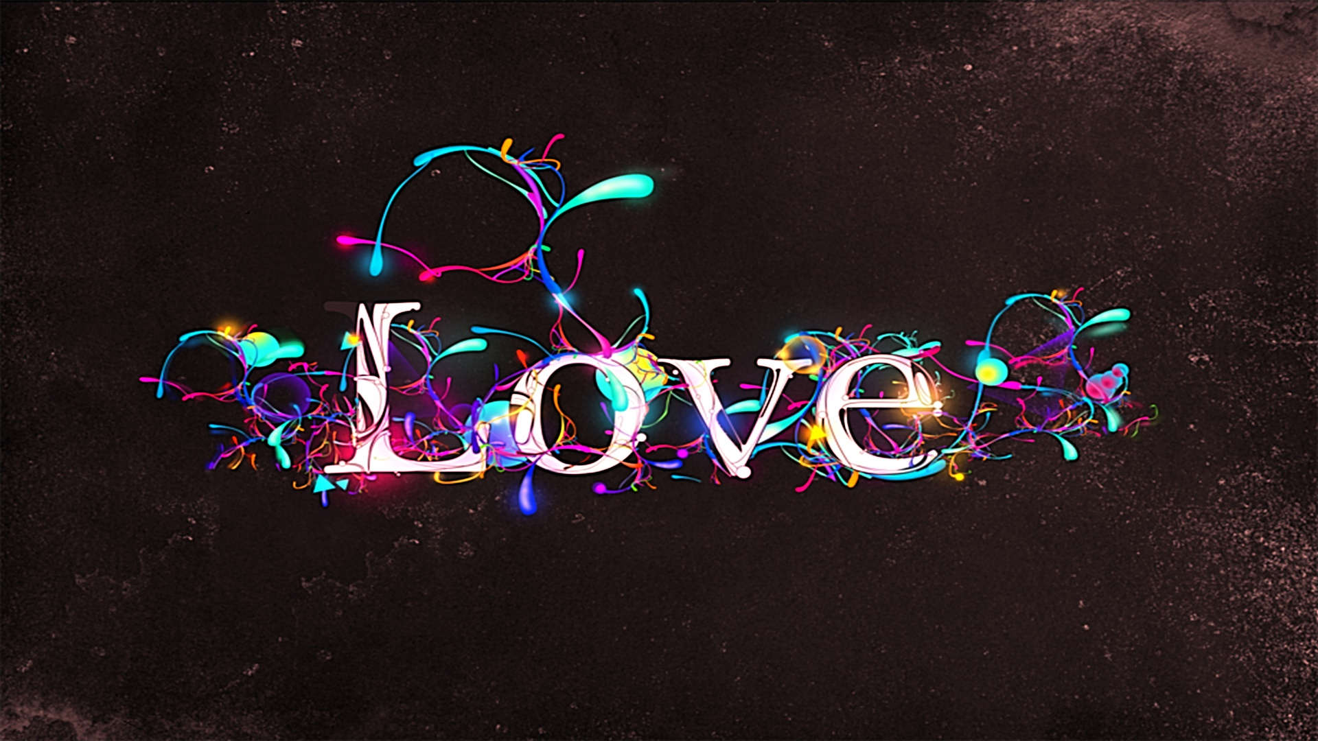 Love Wallpaper Painting : Paint Drops on Love ABSTRAcT