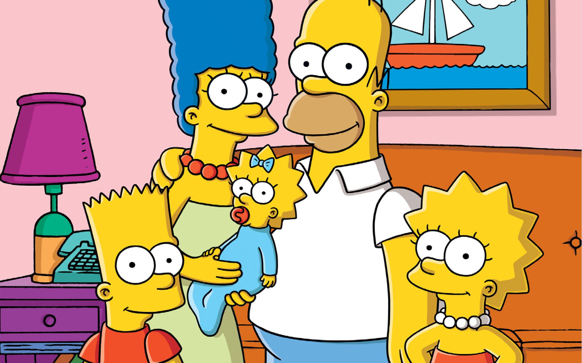 Simpsons Family In Living Room Cartoon