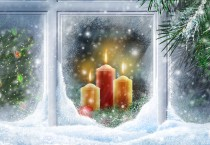 Christmas Candles Through Frosted Window