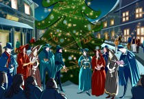 Christmas Carolers in Front of Tree