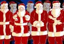 Gang of Cartoon Santas