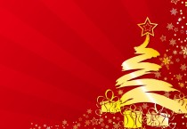 Gold Tree and Presents, Red Background