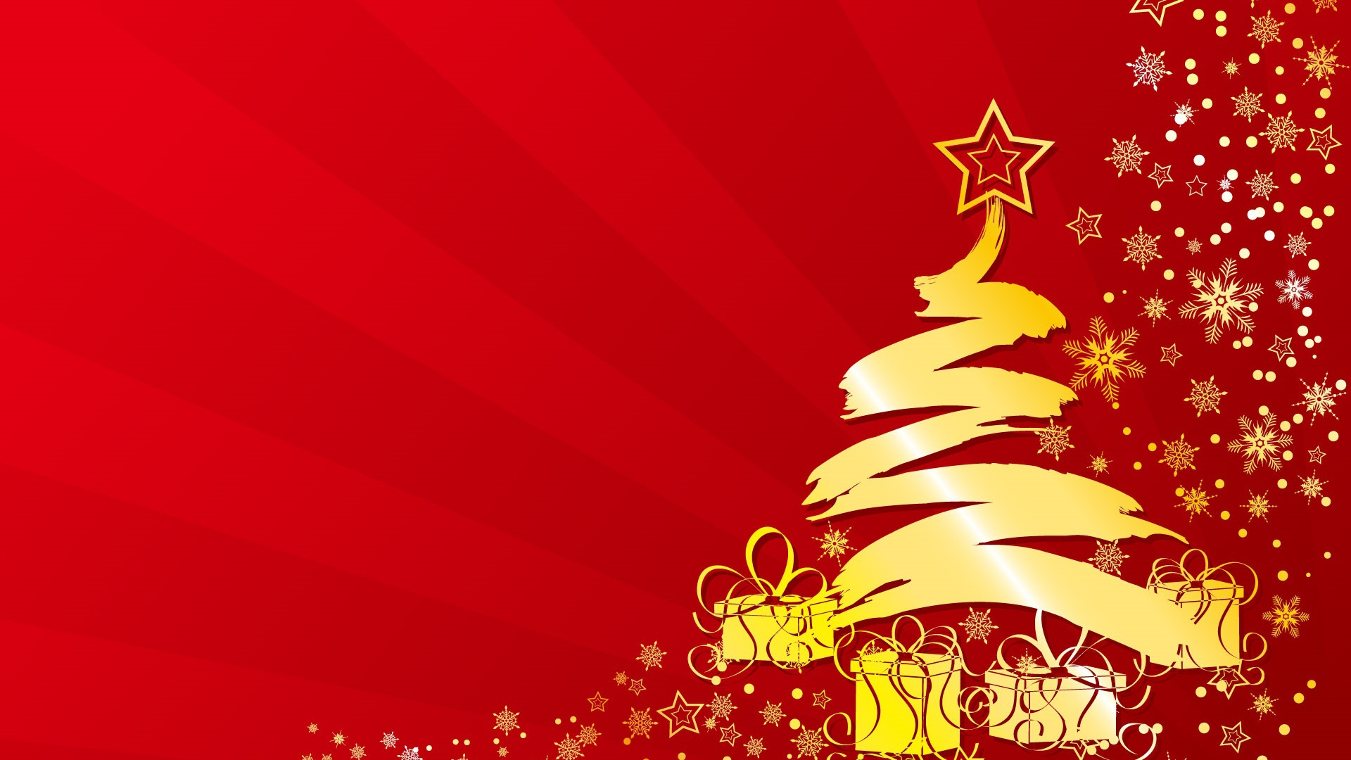 Gold Tree And Presents Red Background Christmas