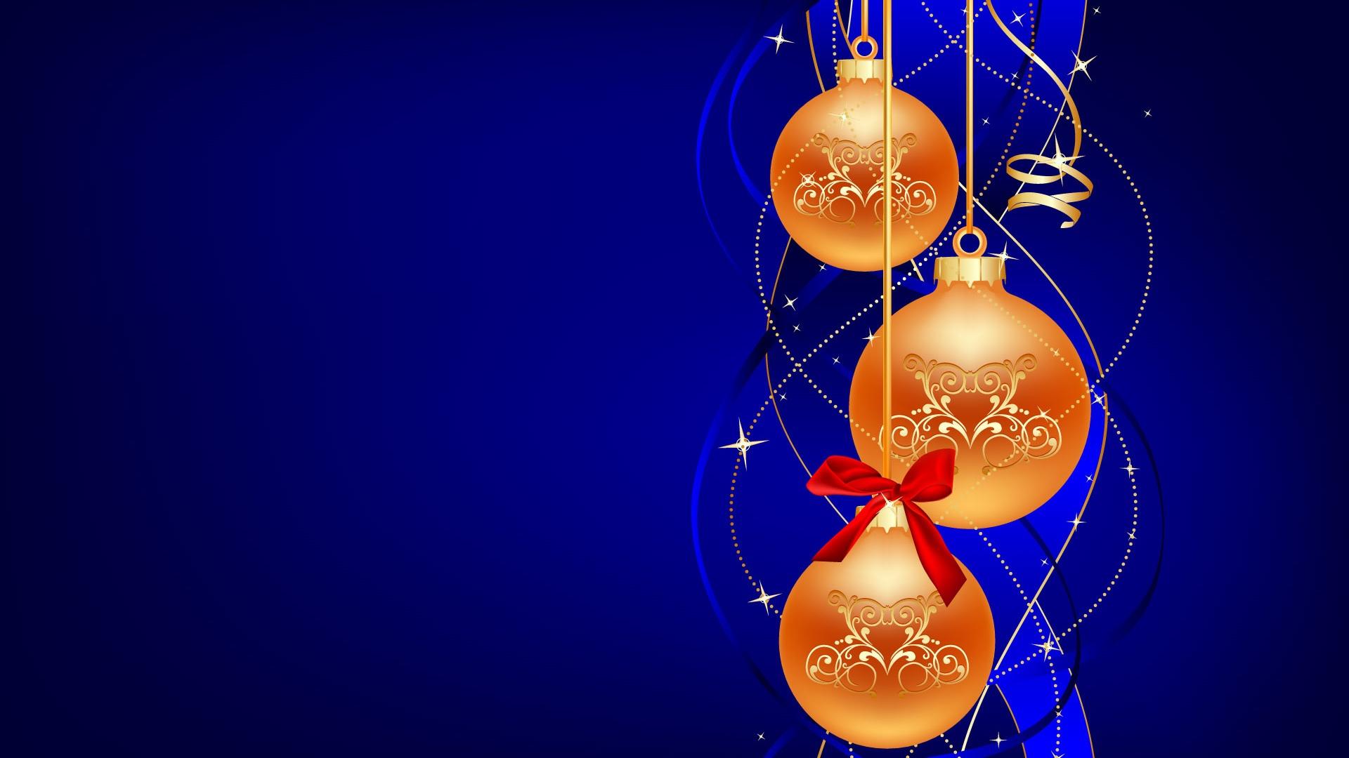 Orange ornaments blue background christmas
