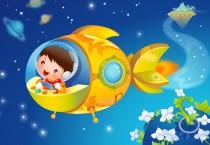 Cartoon Boy in Yellow Spaceship