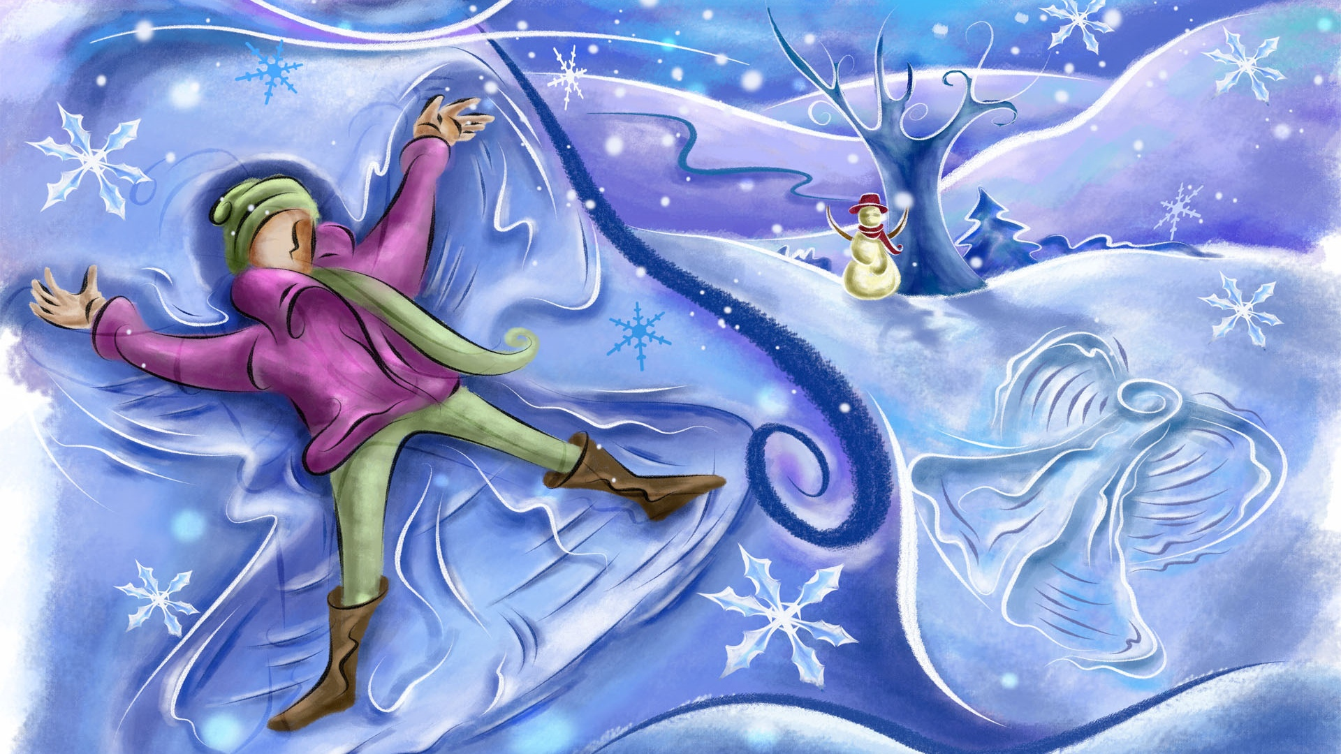 snow angel wallpaper cartoon - photo #7