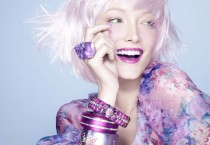 Beautiful Woman with Purple Lipstick and Accessories