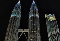 Petronis Twin Towers at Night