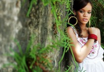 Rihanna in a Forest with Huge Hoop Earrings