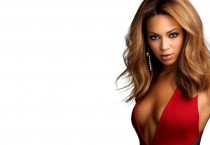 Beyonce in Red Dress with Plunging Neckline, Cool Earring