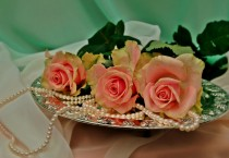 Pink Roses and Pearls on a Silver Plate