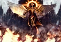 Winged Angel with Halo and Sword Flying Over Fire