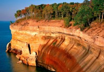 Fall Colored Trees atop Eroded Cliff