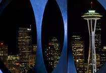 Seattle Skyline and Space Needle at Night