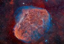 Red, Orange, and Blue Nebula
