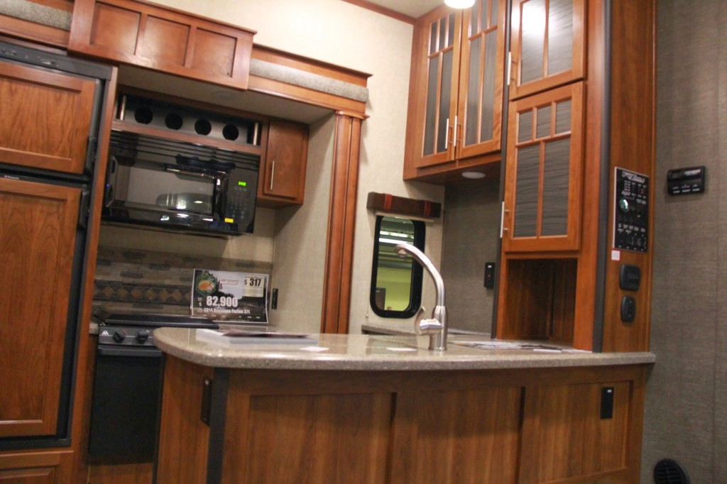2014 keystone fuzion 371 rv kitchen view 2 lifestyle