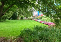 Manicured Grass and Flowers at Park in Niagara Falls, Ontario