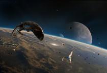 Star Wars Lambda-Class Shuttles, Third Ship Unknown, Above Planet