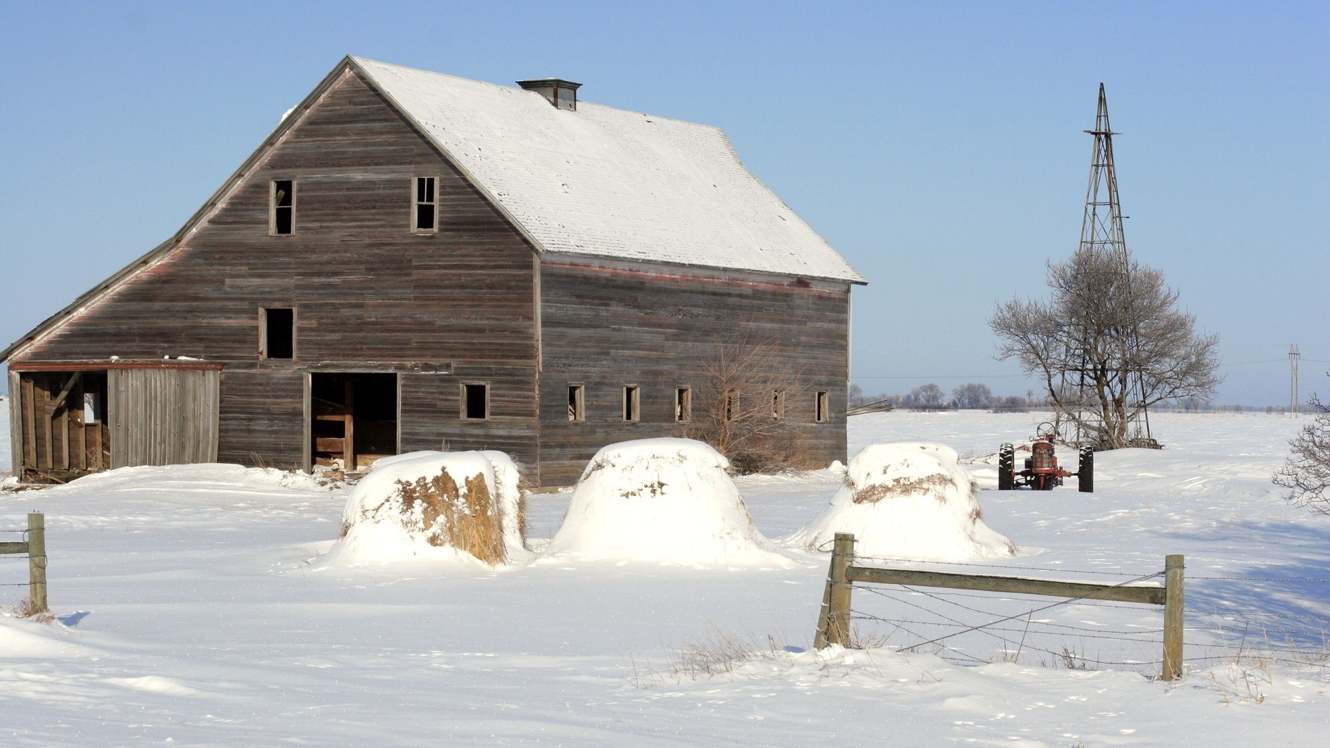 Wooden barn and old tractor on snow covered farm lifestyle - Winter farm scenes wallpaper ...