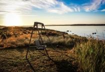 Wooden Swing Near Lake at Sunrise