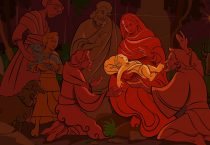 Nativity Scene in Red