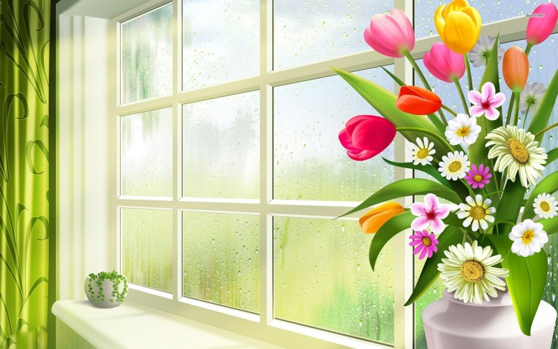 Spring Flowers In The Window - Spring Flowers In The Window