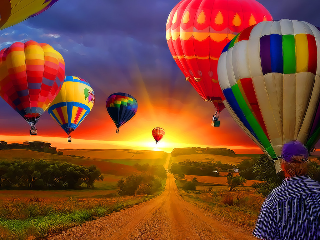 Country Road Air Balloon Vector