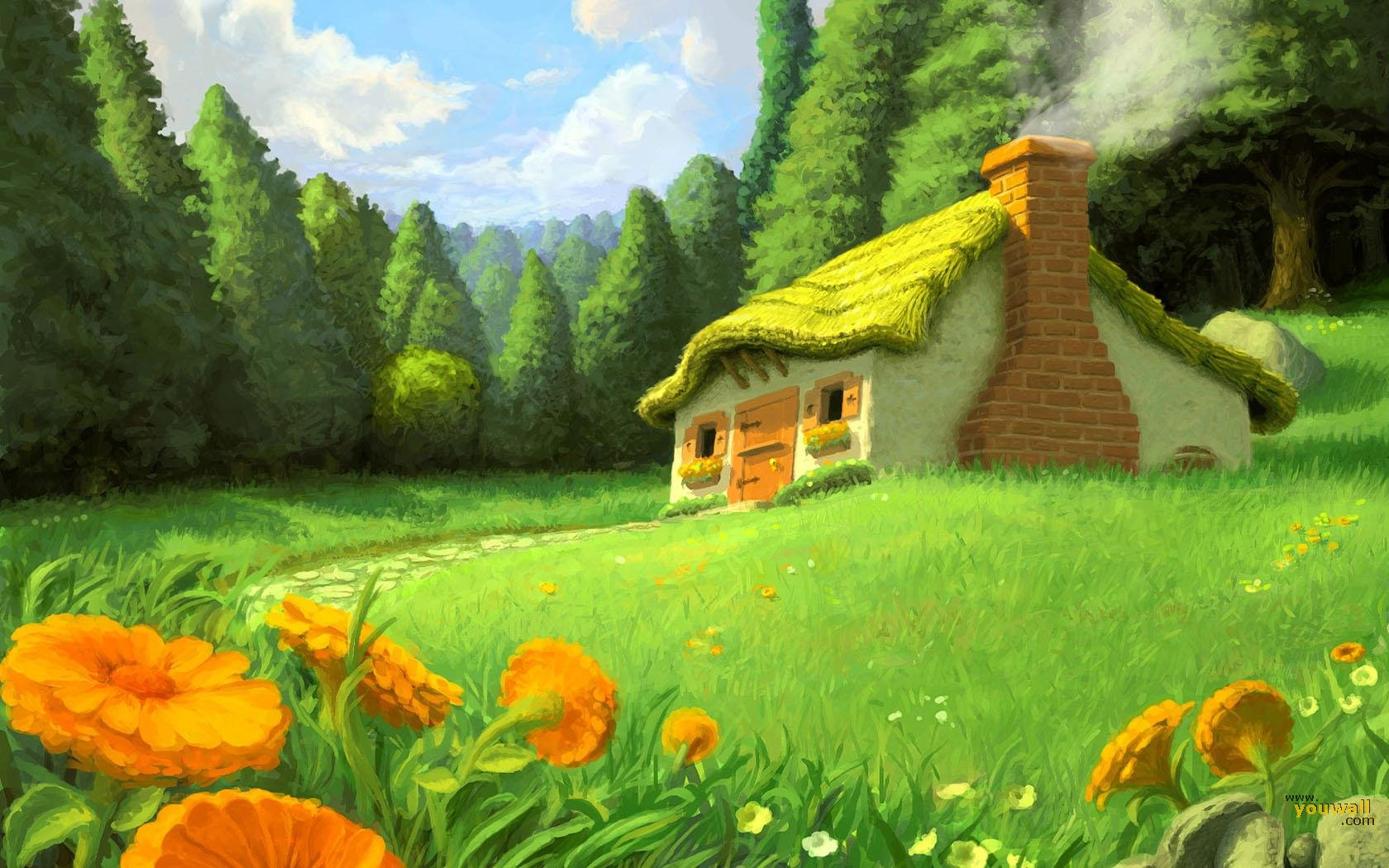 House In The Forest Painting - House In The Forest Painting