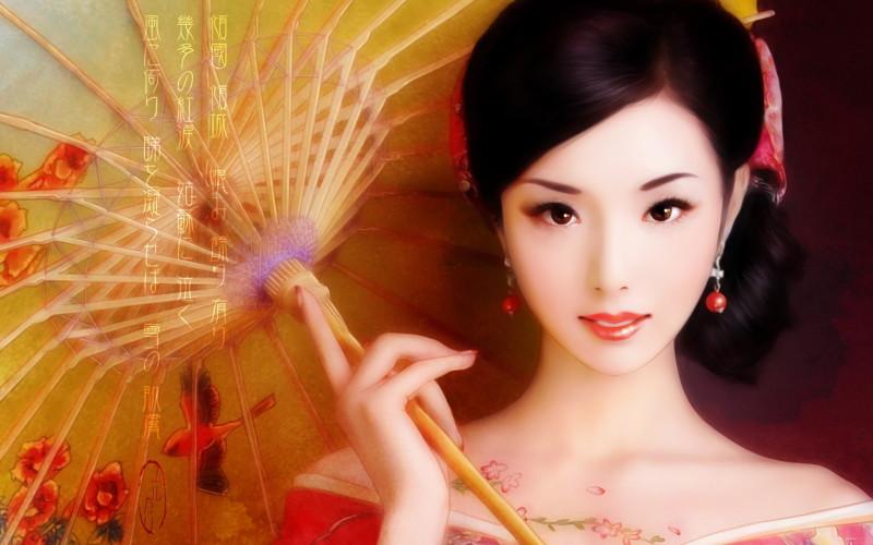 Japanese Girl Painting - Japanese Girl Painting