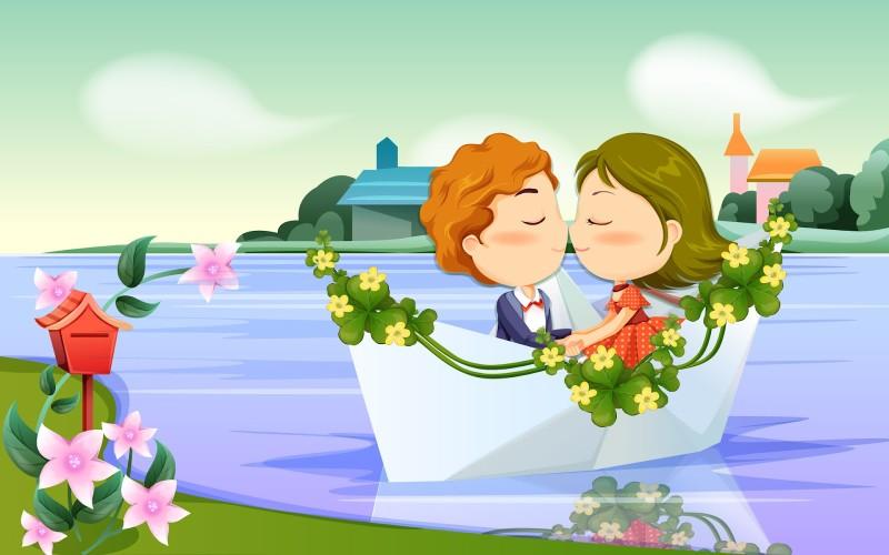 Romantic Kiss Cartoon Wallpaper - Romantic Kiss Cartoon Wallpaper