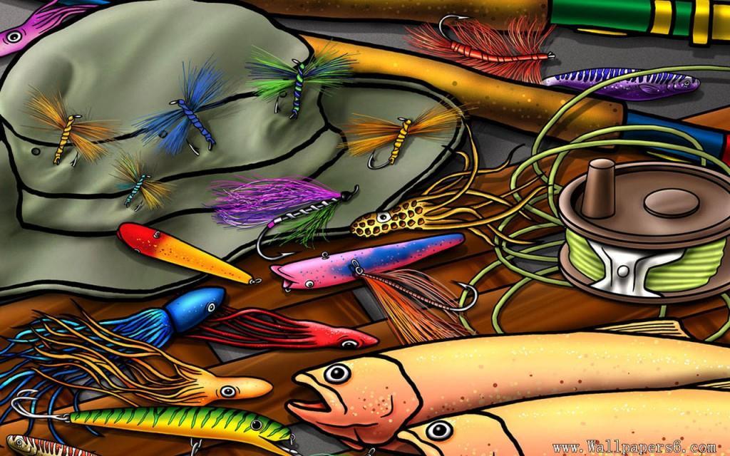 Fishing Equipments Cartoon - Fishing Equipments Cartoon