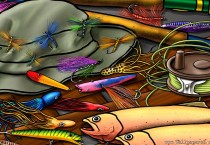 Fishing Equipments Cartoon - Fishing Equipments Cartoon