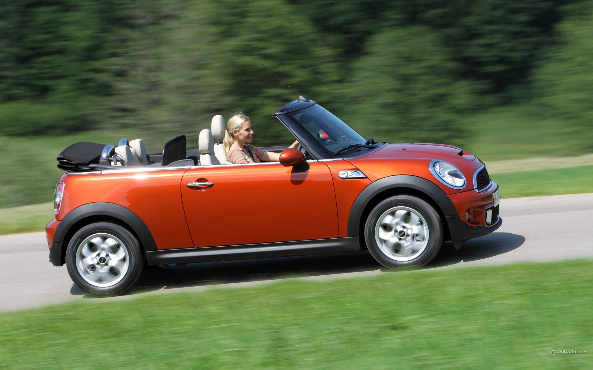 Red Mini Cooper Driving - Red Mini Cooper Driving