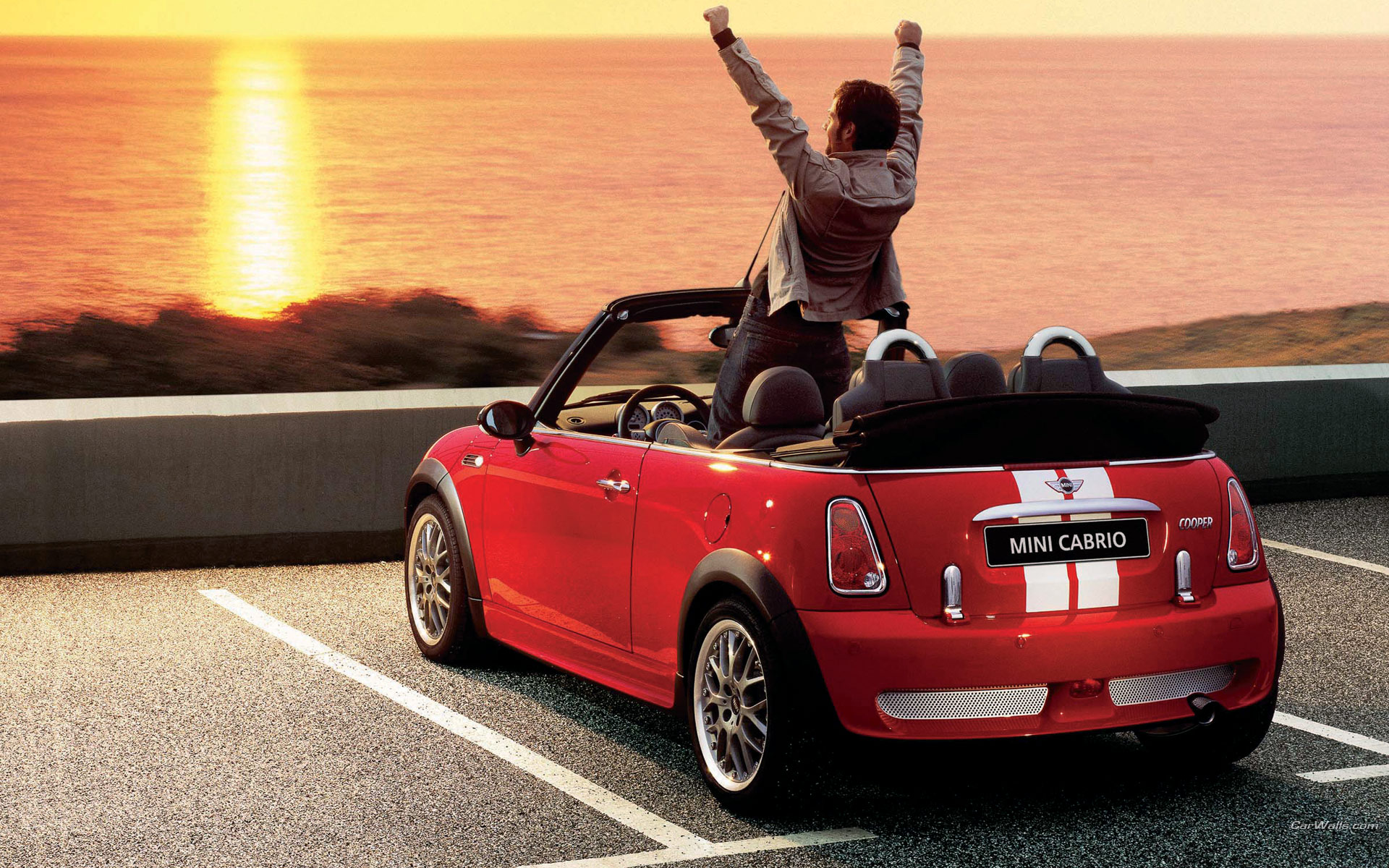 Sunset With Red Mini Cooper - Sunset With Red Mini Cooper