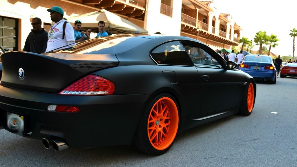 Custom Black Bmw With Orange Rims Cars