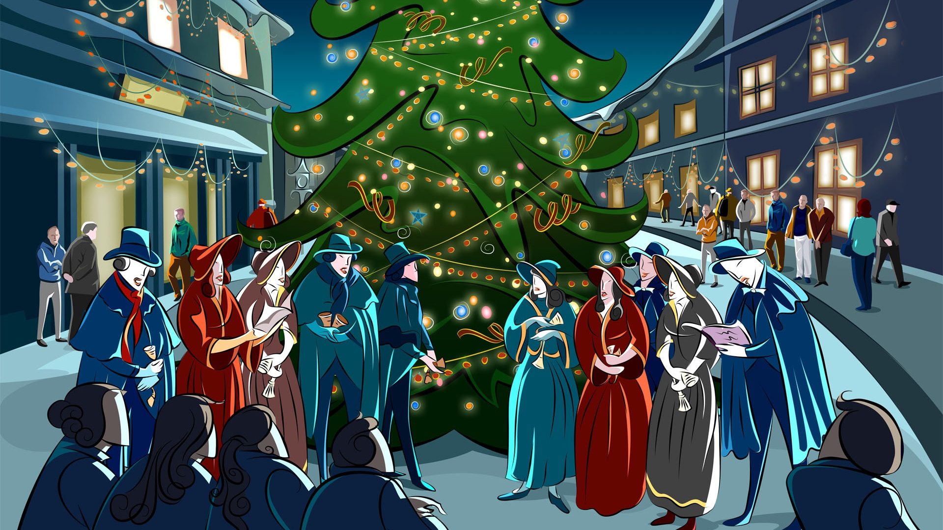 Polaris Outlaw 50 >> Christmas Carolers in Front of Tree | CARTOON