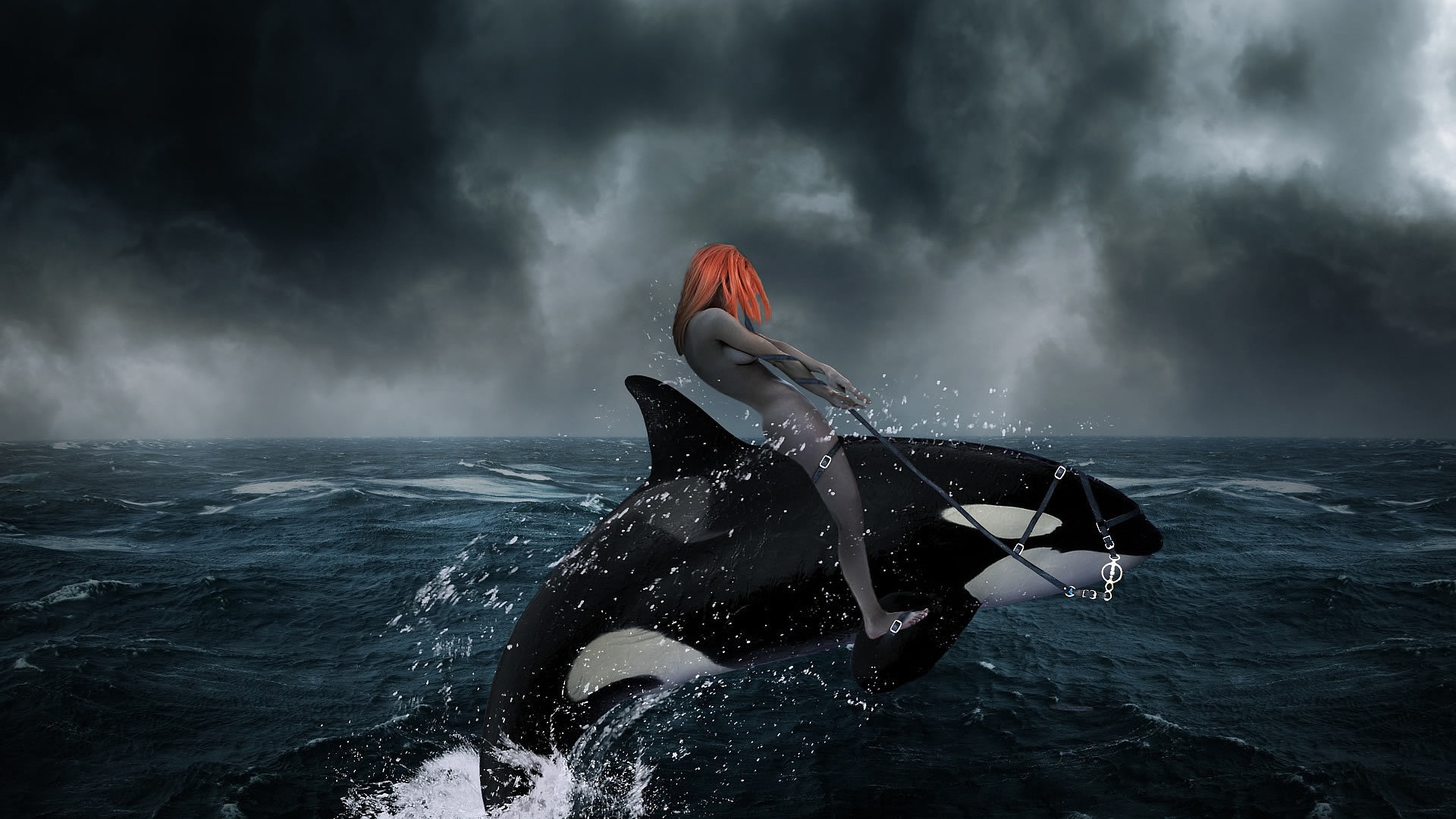 Redhead Riding A Killer Whale Abstract