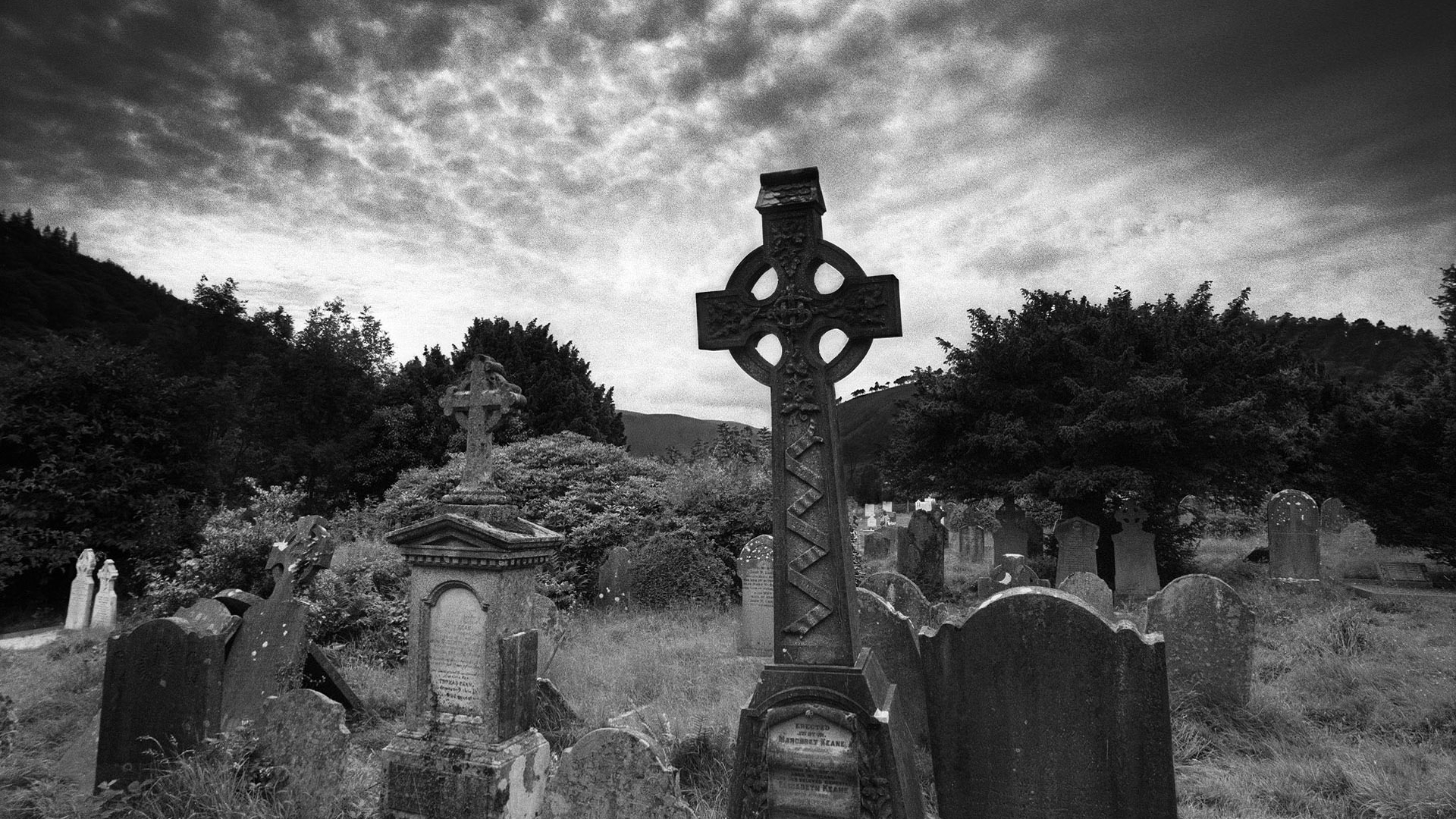 Spooky Old Graveyard Black And White Photography