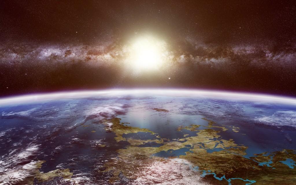 Sun Shining Down On Earth Space