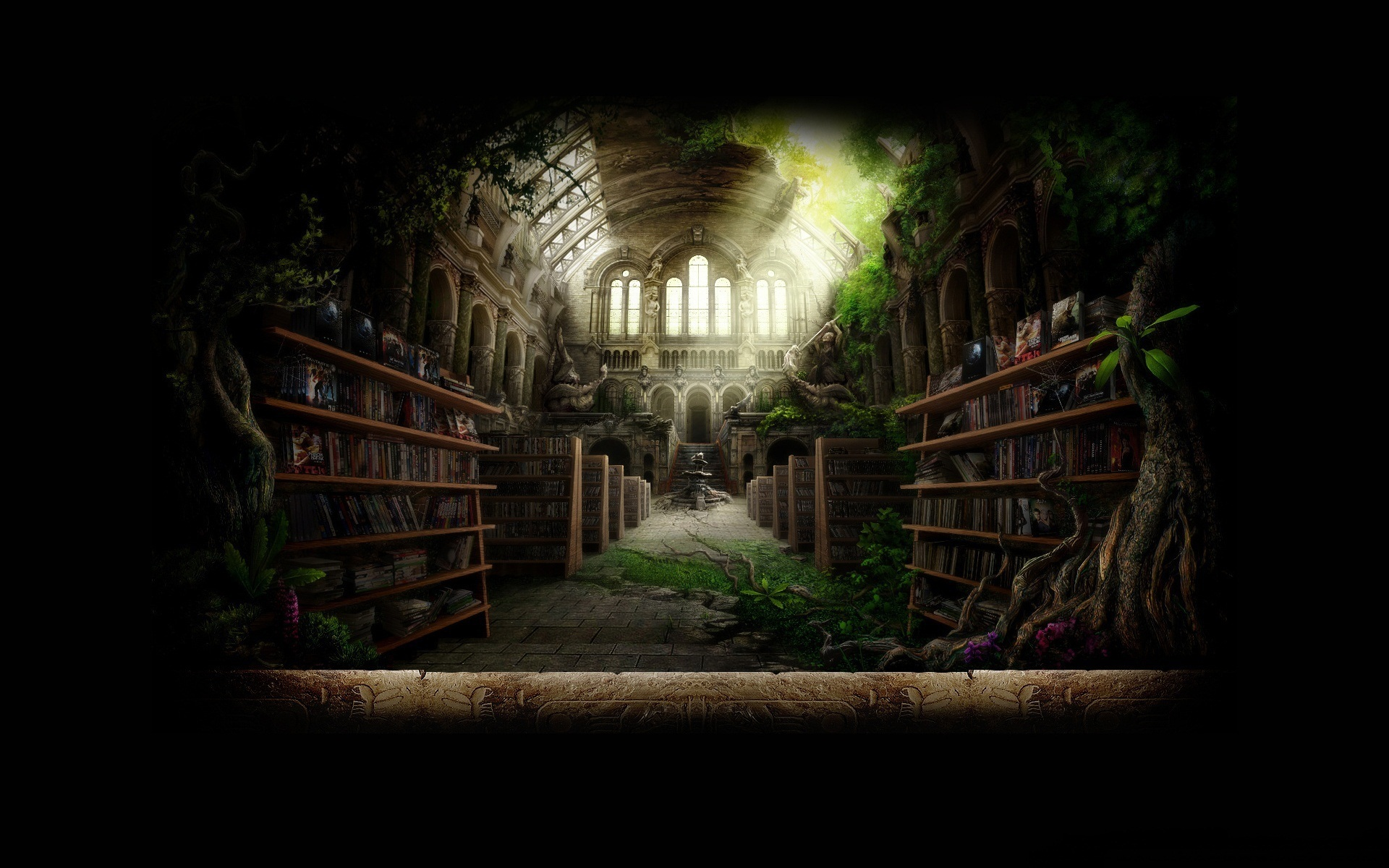 Old Library Overgrown By Nature Architecture